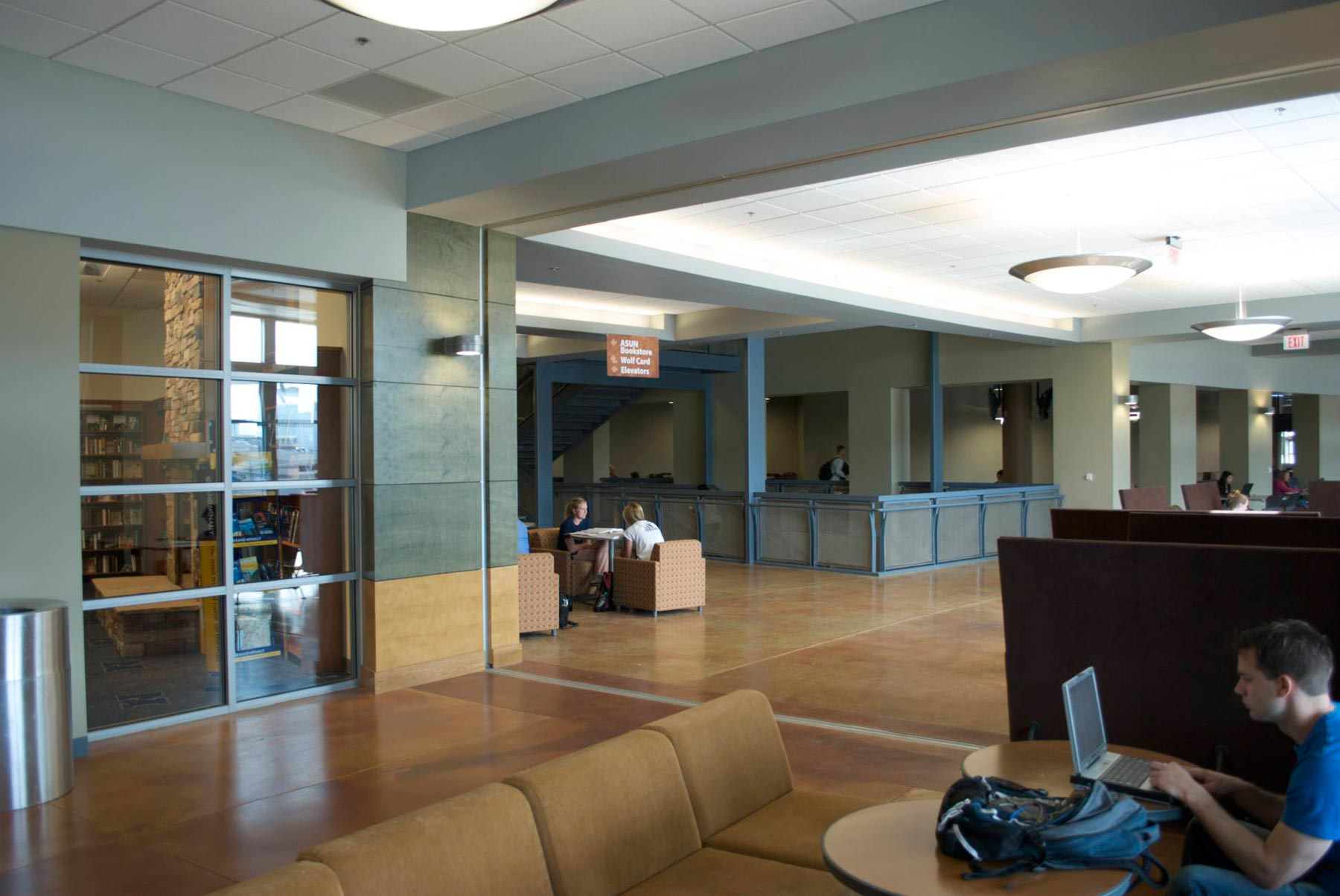 Southwest lounge and corridor at bookstore